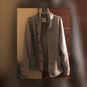Gray sweater fleece cardigan